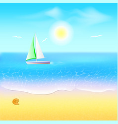 beach and tropical sea with boat paradise beach vector image vector image