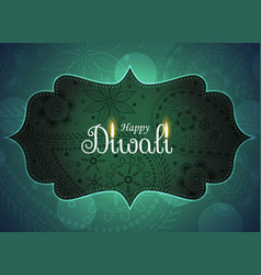 beautiful ethnic happy diwali greeting background vector image vector image