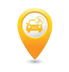 car with satelite icon pointer yellow vector image vector image