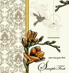 Wedding card or invitation with floral background vector image vector image