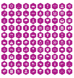 100 arrow icons hexagon violet vector