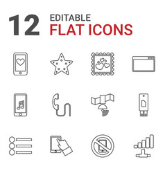 12 mobile icons vector image