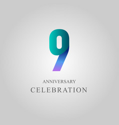 9 year anniversary celebration template design vector