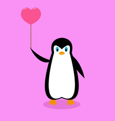 arctic cartoon penguin with a pink ball vector image
