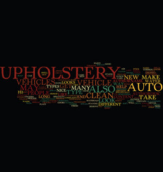 Auto upholstery text background word cloud concept vector