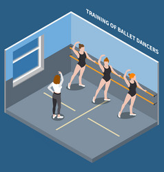Ballet dancers isometric composition vector