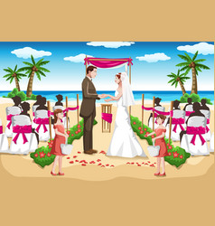Beach wedding vector