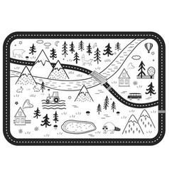 Black and white kids road play mat river vector