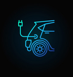 blue electric car concept icon in line vector image