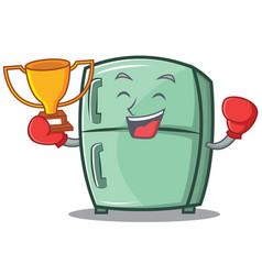 boxing winner cute refrigerator character cartoon vector image