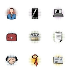 Business icons set pop-art style vector