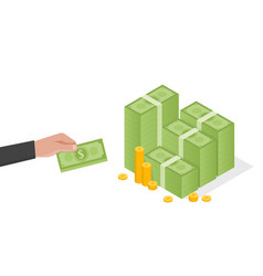 Businessman hand holds a stack green dollars vector