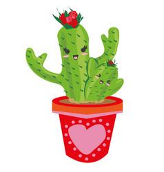 Cactus family - cute cartoon vector