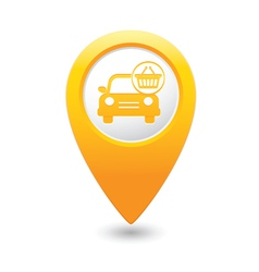 Car with shop basket icon pointer yellow vector