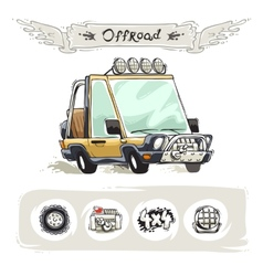 Cartoon Beach SUV Set vector