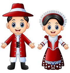 cartoon italian couple wearing traditional costume vector image