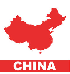 china map colorful red on white background vector image