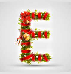 Christmas font letter e of christmas tree vector
