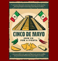 Cinco de mayo fiesta party retro invitation poster vector