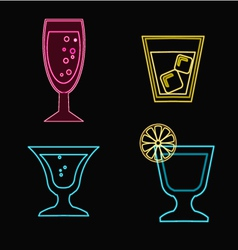 cocktails set neon Cocktail glasses vector image