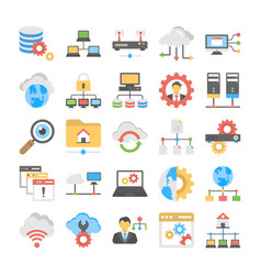 Collection of flat web hosting icons vector