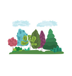 colorful abstract trees and grass composition vector image