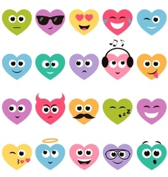 colorful hearts with smiley faces vector image