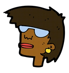 Comic cartoon female face with glasses vector
