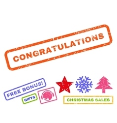 Congratulations Rubber Stamp vector
