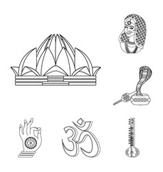 Country india outline icons in set collection for vector