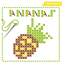 Crosstiched simple ananas with framle and needle vector