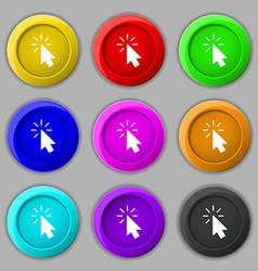 Cursor icon sign symbol on nine round colourful vector image