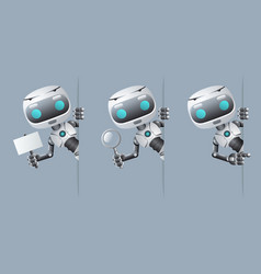 cute robot look out corner poster in hand pointing vector image