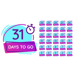 days to go badge business day countdown release vector image