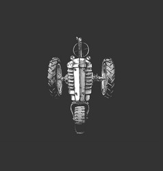 drawing tractor stylized as engraving vector image
