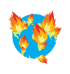earth on fire planet is burning disaster doomsday vector image
