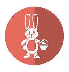 Easter bunny with basket egg shadow vector