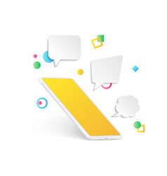 empty smartphone with message bubble vector image