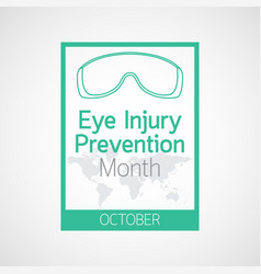 Eye injury prevention month icon vector