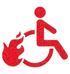 Fired Disabled Person Grainy Texture Icon vector