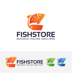 fish store logo design vector image