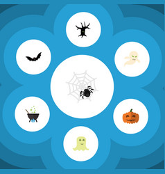 flat icon festival set of spinner magic ghost vector image