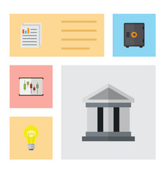 Flat icon finance set of diagram bubl document vector