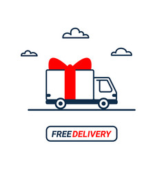 Free delivery line icon thin line styled delivery vector