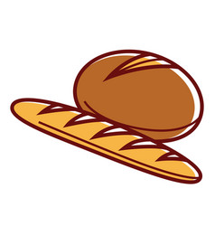 fresh soft rye bread and long baguette isolated vector image