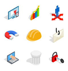 Front end icons set isometric style vector