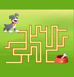 Game dog maze find way to the dog food container vector