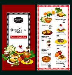 german and bavarian cuisine restaurant menu vector image