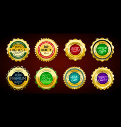gold premium sale badges set colorful elements vector image