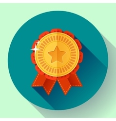 Gold shiny medal with ribbons badge icon Flat vector image